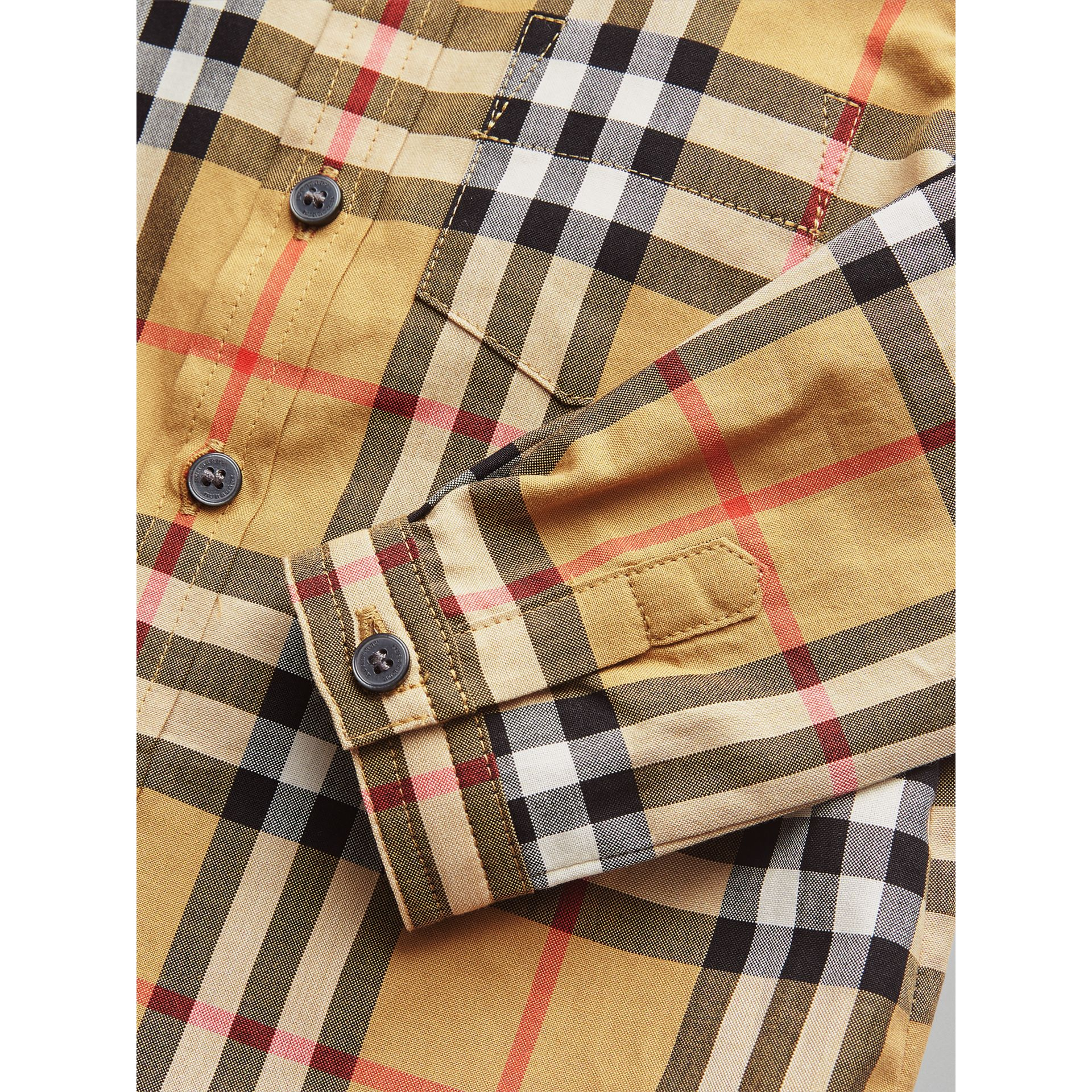 Button-down Collar Vintage Check Cotton Shirt in Antique Yellow - Children | Burberry United Kingdom - gallery image 1