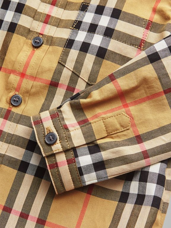 Button-down Collar Vintage Check Cotton Shirt in Antique Yellow - Children | Burberry Canada - cell image 1