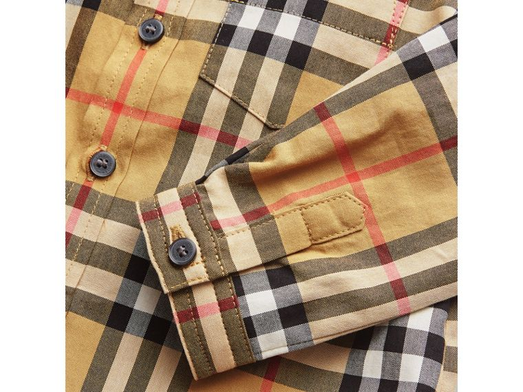Button-down Collar Vintage Check Cotton Shirt in Antique Yellow | Burberry United Kingdom - cell image 1