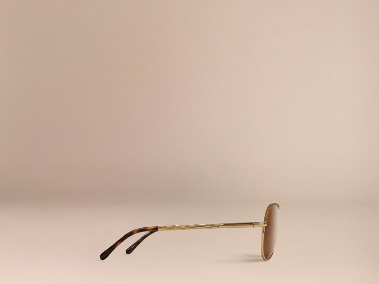 Gold Gabardine Collection Aviator Sunglasses Gold - cell image 4