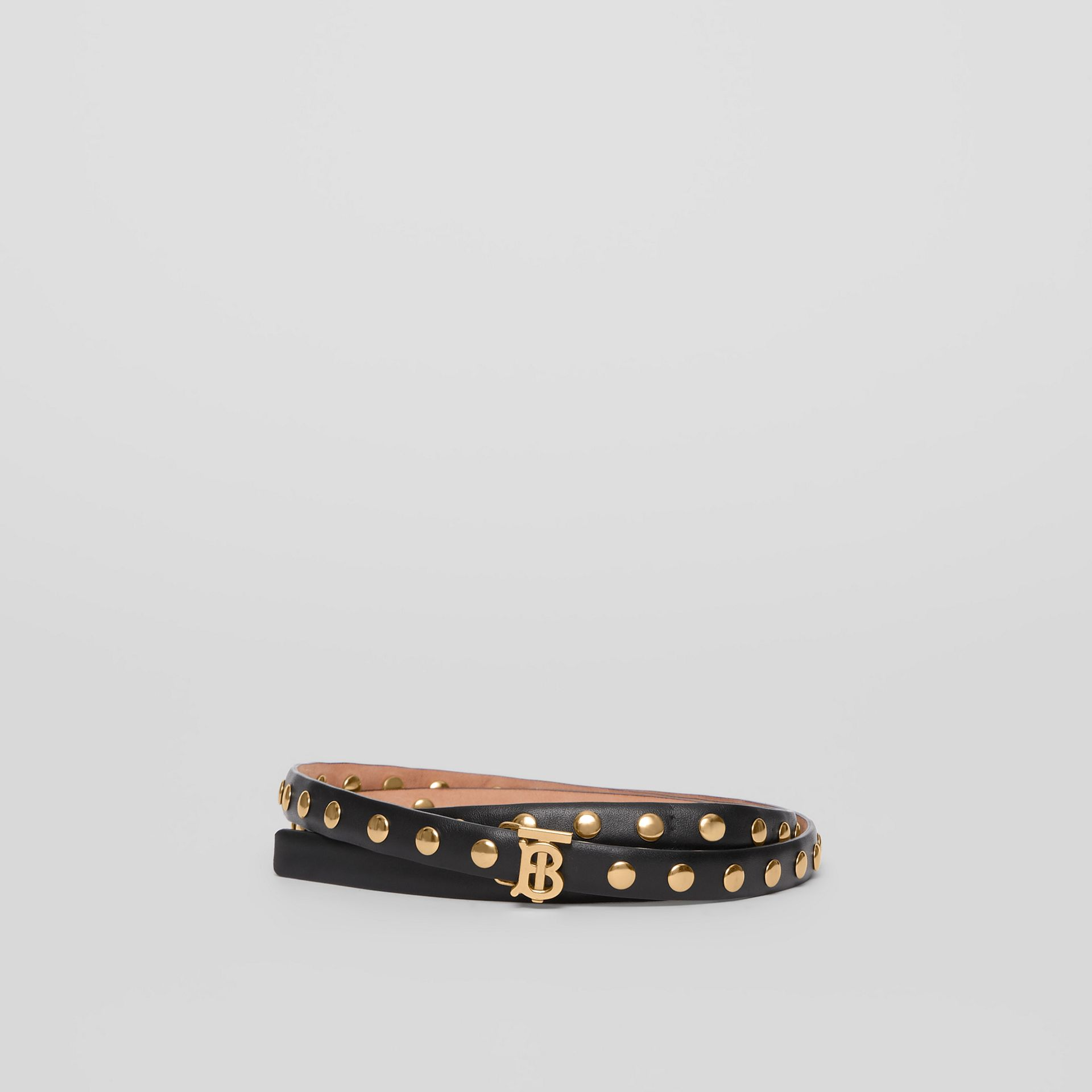 Monogram Motif Studded Leather Belt in Black/light Gold - Women | Burberry Australia - gallery image 0