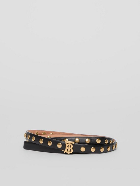 Monogram Motif Studded Leather Belt in Black/light Gold