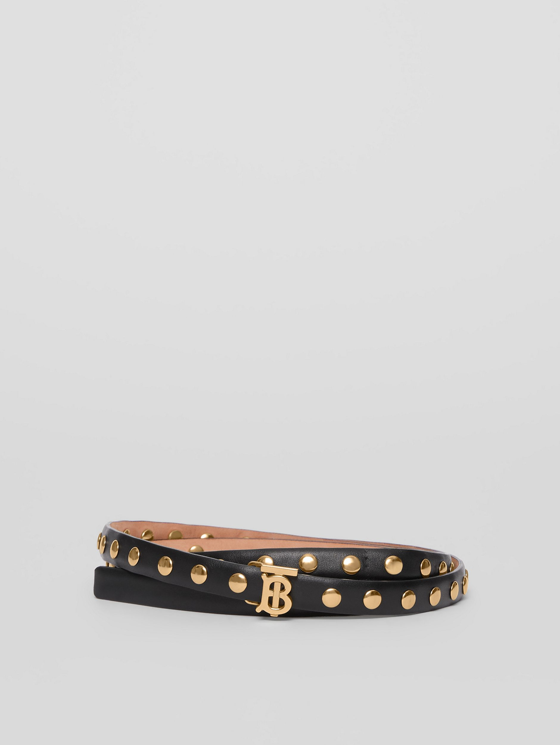 Monogram Motif Studded Leather Belt in Black/light Gold - Women | Burberry - 1