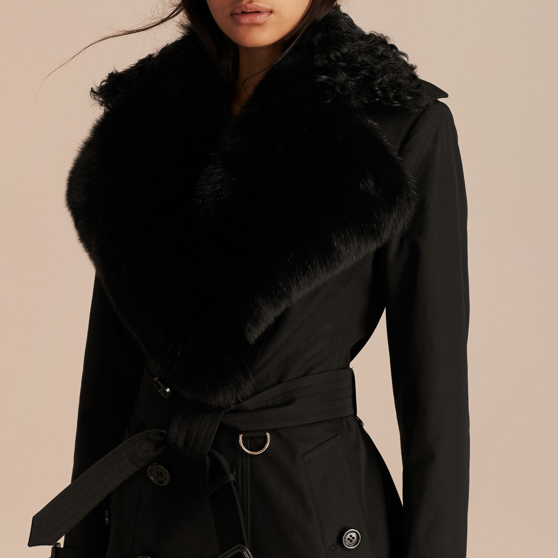 Black Cotton Gabardine Trench Coat with Detachable Fur Trim - gallery image 5