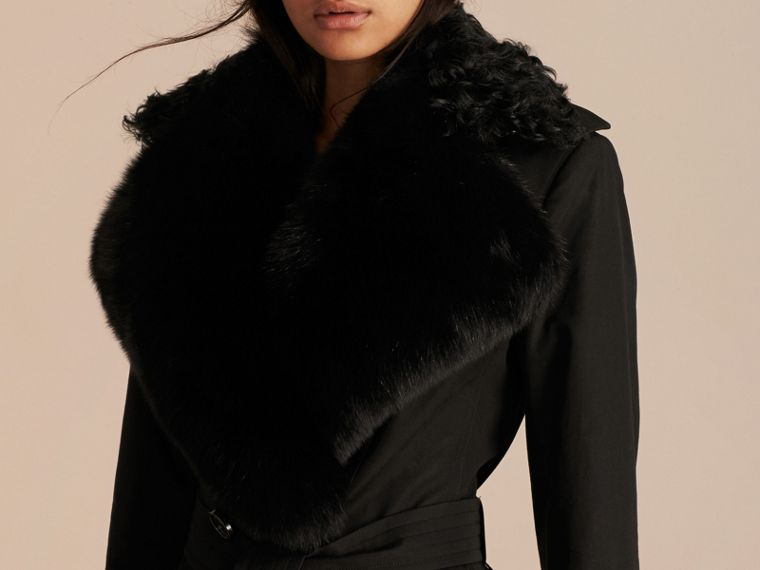 Black Cotton Gabardine Trench Coat with Detachable Fur Trim - cell image 4