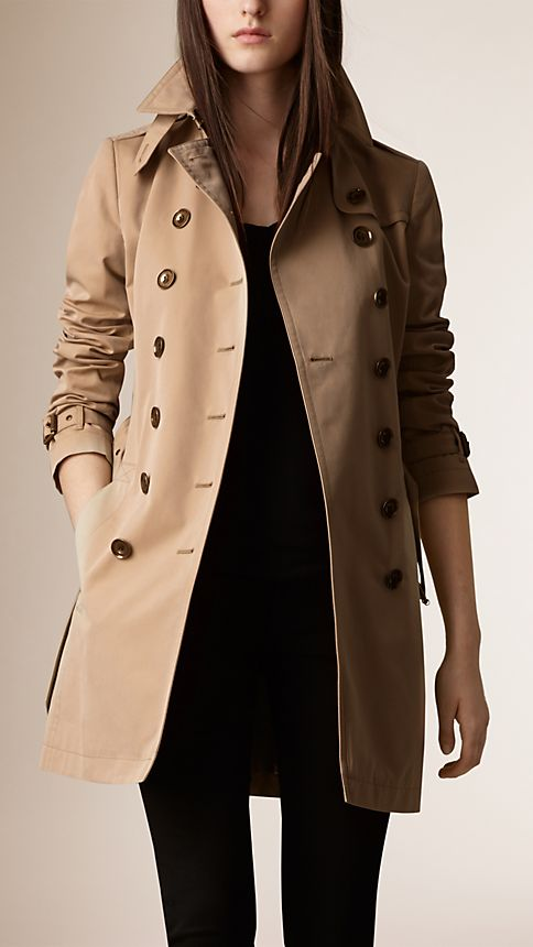 Honey Check Detail Cotton Poplin Trench Coat - Image 1