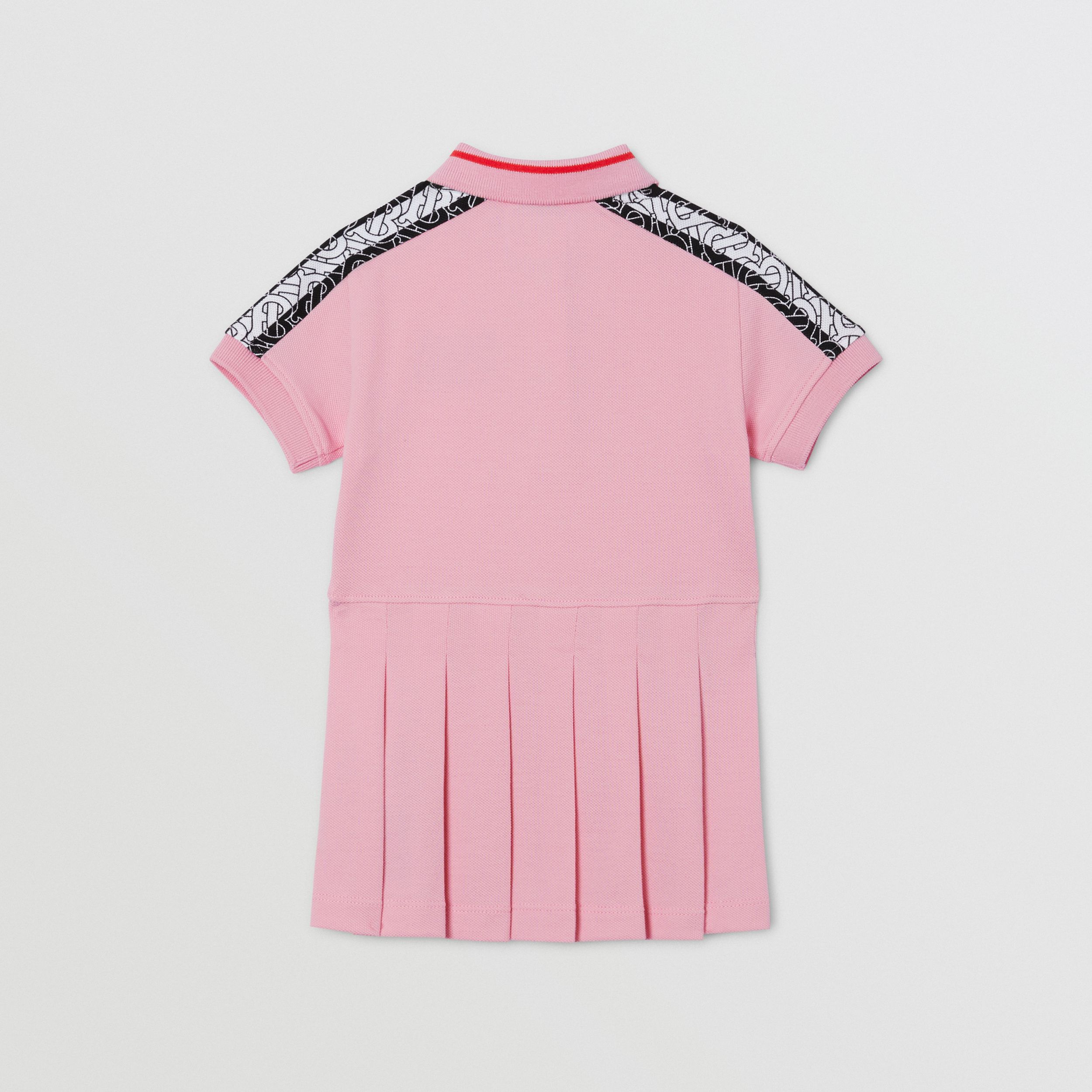 Monogram Stripe Print Cotton Piqué Polo Shirt Dress in Candy Pink - Children | Burberry - 4