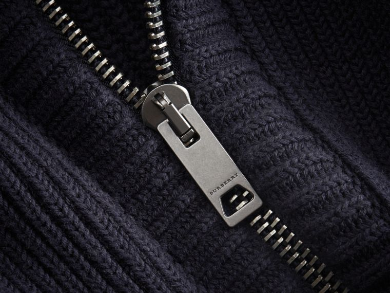Knitted Cotton Cashmere Flight Jacket in Navy - Men | Burberry Australia - cell image 1