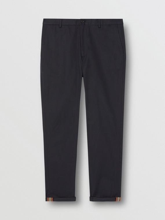 Calças chino de algodão com corte slim (Azul-marinho)