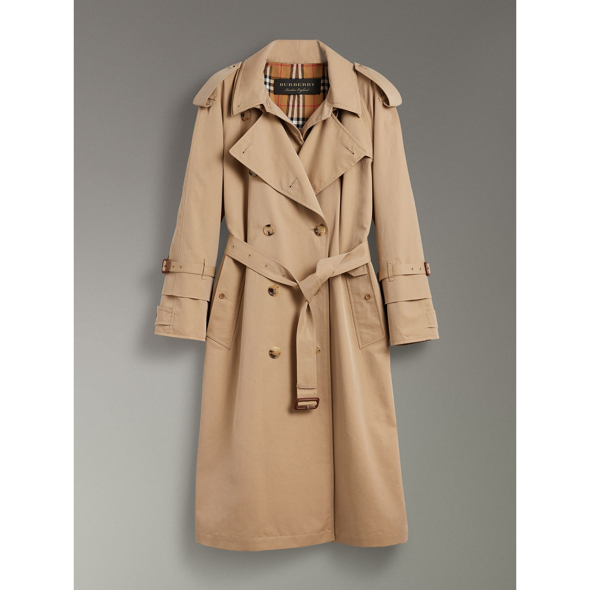 Cotton Gabardine Reconstructed Car Coat in Honey - Women | Burberry Canada - gallery image 3