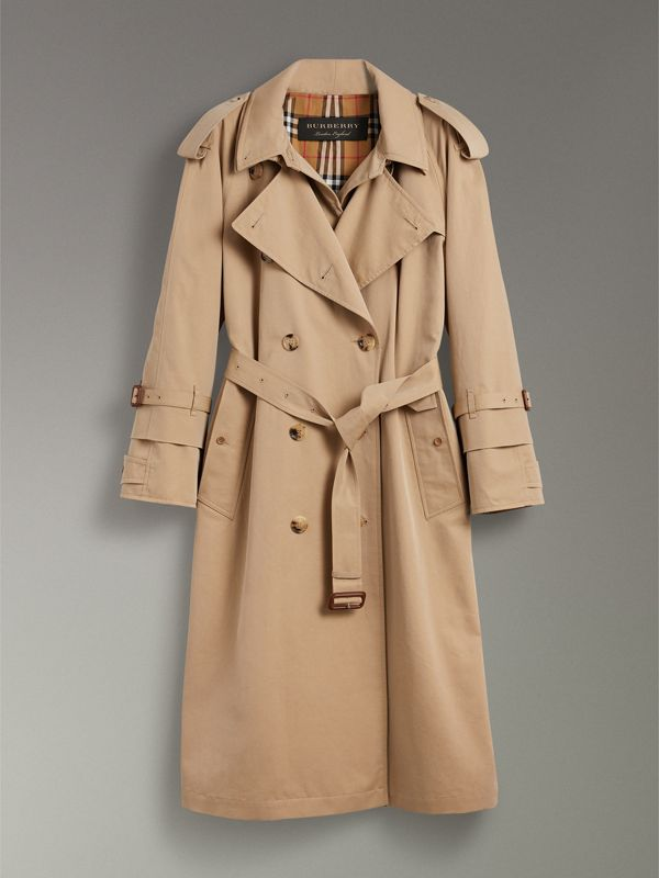 Cotton Gabardine Reconstructed Car Coat in Honey - Women | Burberry Canada - cell image 3