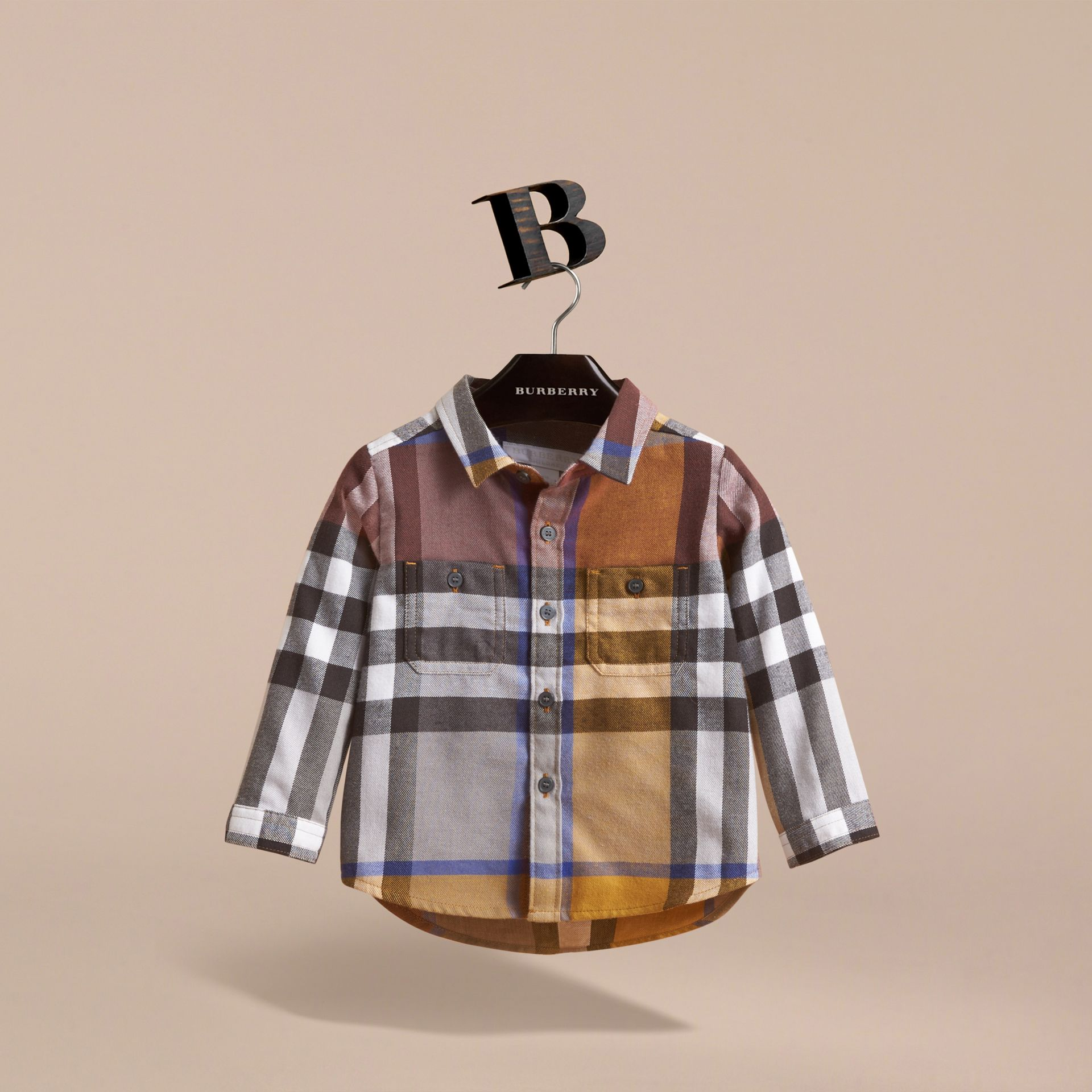 Pocket Detail Check Cotton Shirt in Ochre Yellow | Burberry - gallery image 3