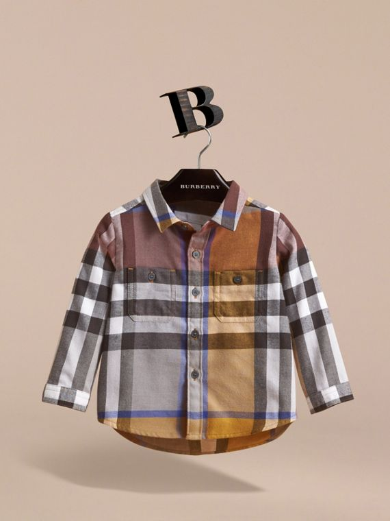 Pocket Detail Check Cotton Shirt in Ochre Yellow | Burberry Australia - cell image 2
