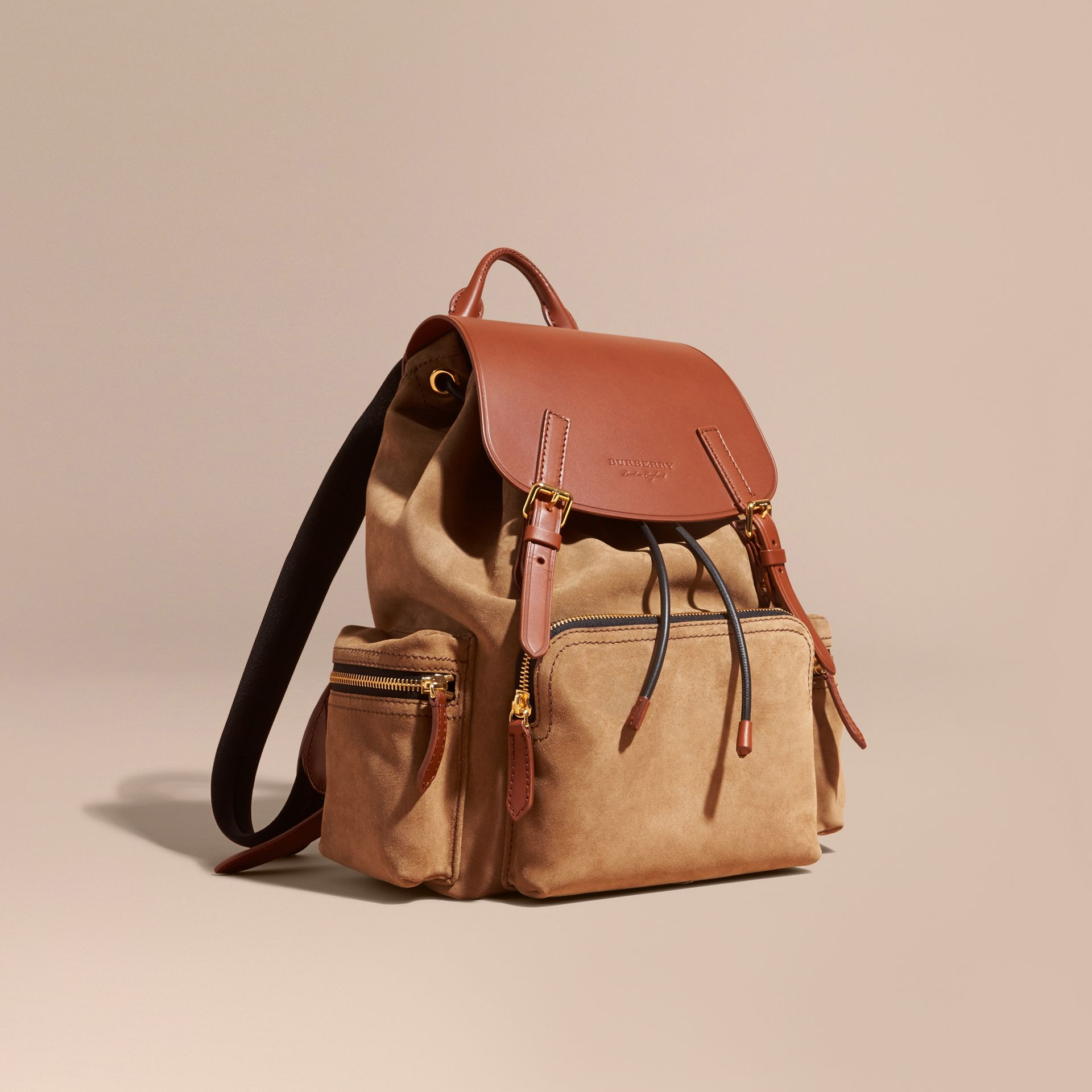 Tan The Large Rucksack in Suede and Bridle Leather - gallery image 1