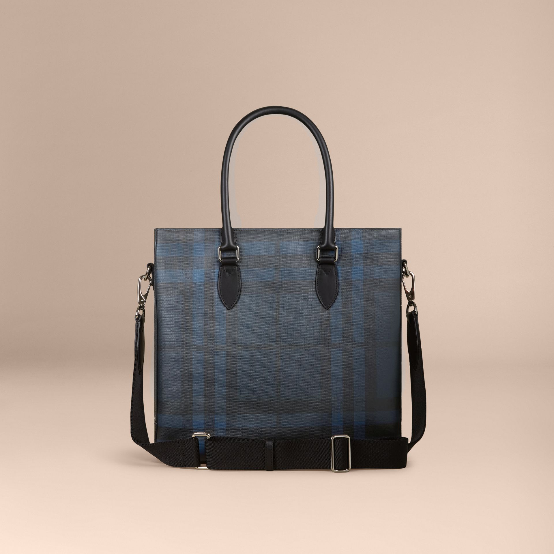 London Check Tote Bag in Navy/black - Men | Burberry Canada - gallery image 4