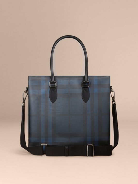 London Check Tote Bag in Navy/black - Men | Burberry Singapore - cell image 3