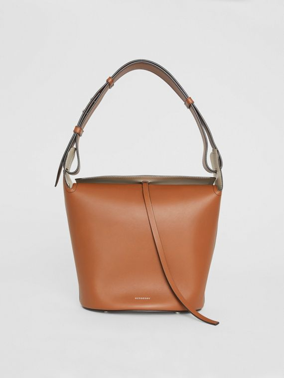 The Medium Leather Bucket Bag in Tan
