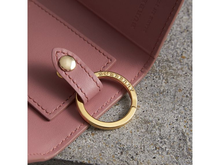 Grainy Leather Key Holder in Dusty Pink - Women | Burberry - cell image 1