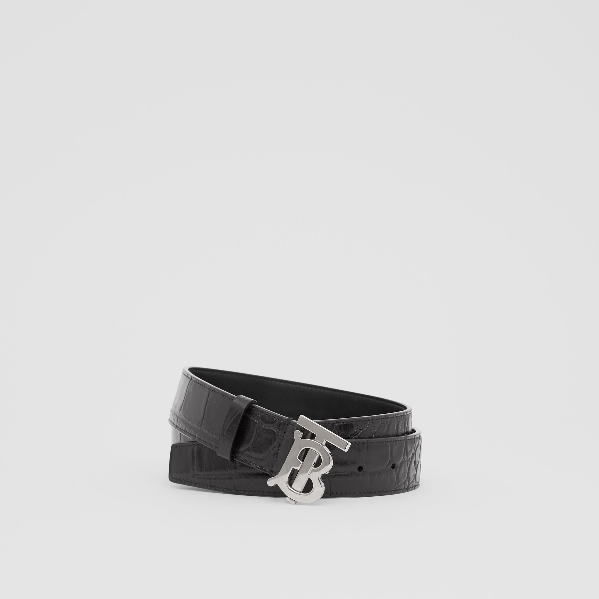 Monogram Motif Embossed Leather Belt in Black - Men | Burberry United Kingdom - gallery image 0