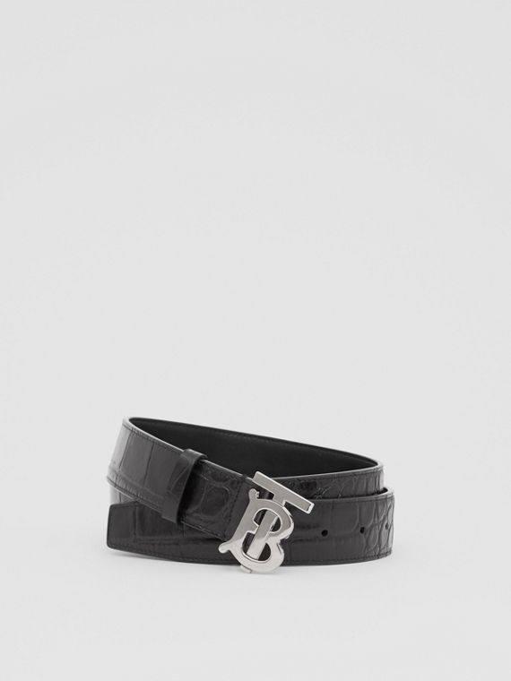Monogram Motif Embossed Leather Belt in Black
