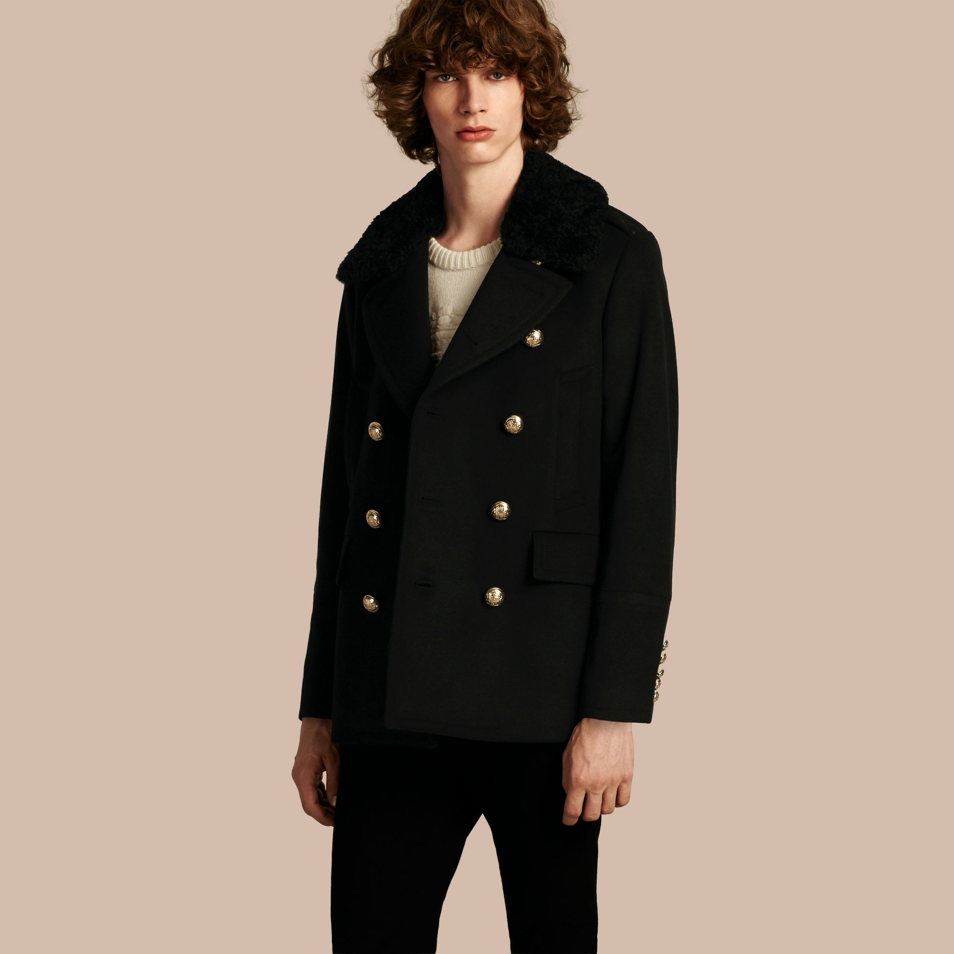 Black Military Pea Coat with Detachable Shearling Collar - gallery image 1