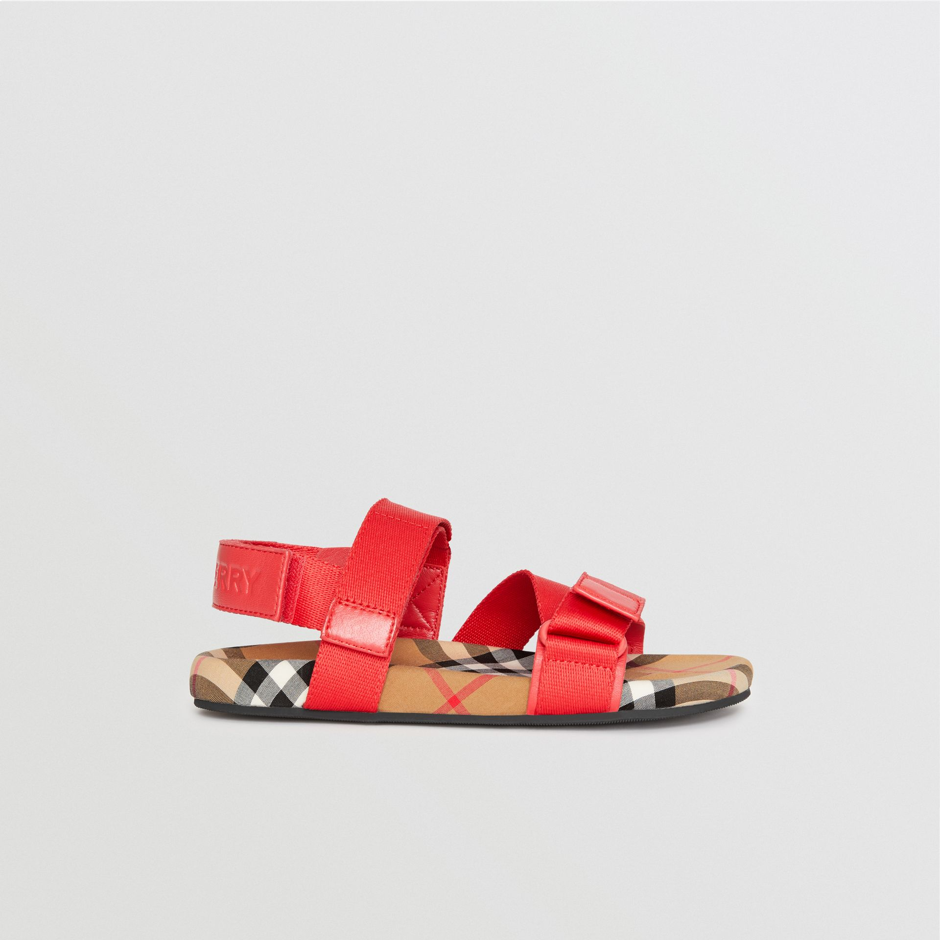 Ripstop Strap Vintage Check Cotton Sandals in Bright Red/antique Yellow - Children | Burberry United States - gallery image 3