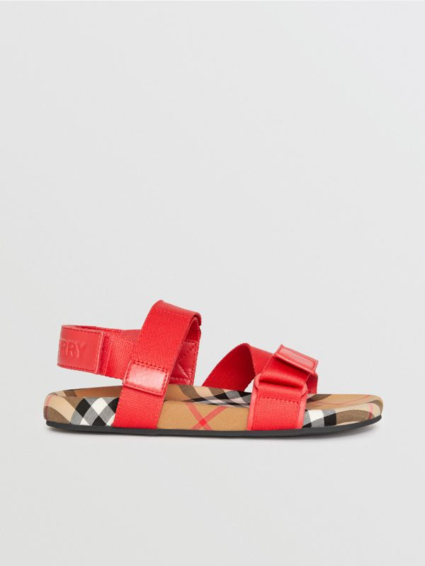 Ripstop Strap Vintage Check Cotton Sandals in Bright Red/antique Yellow - Children | Burberry United States - cell image 3