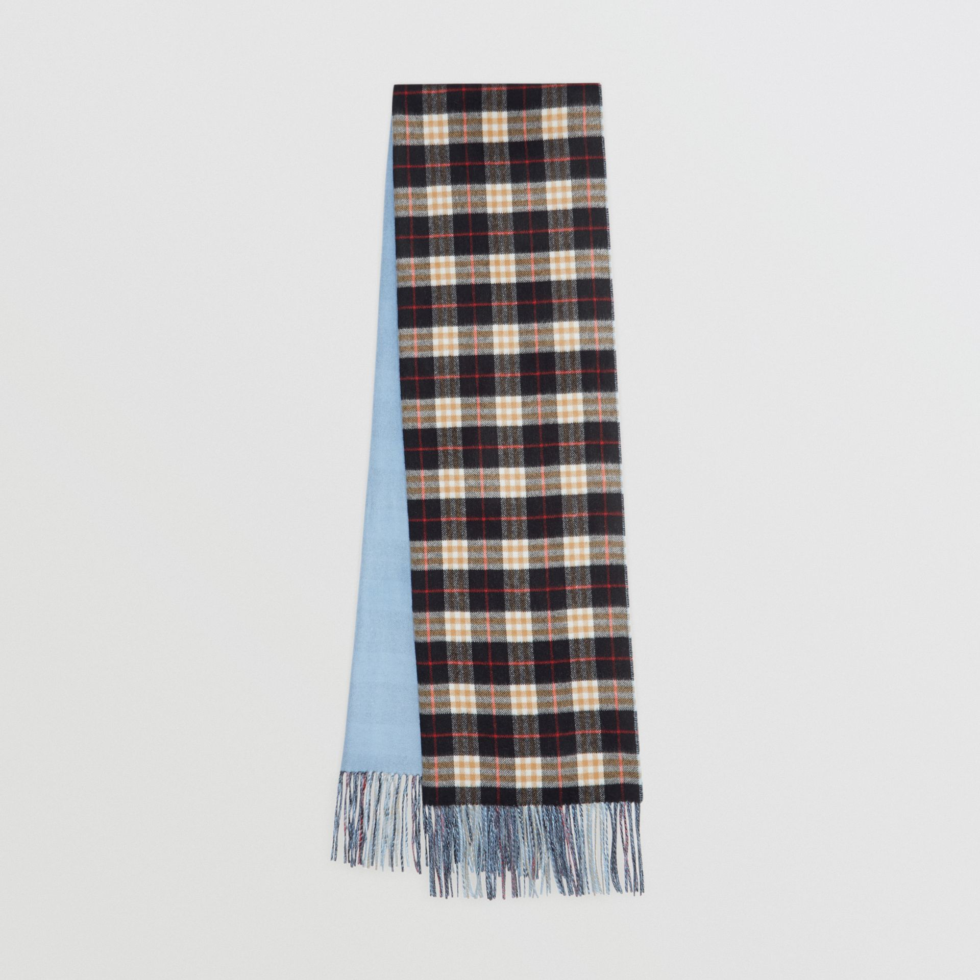 Colour Block Vintage Check Cashmere Scarf in Pale Air Force Blue | Burberry Singapore - gallery image 0