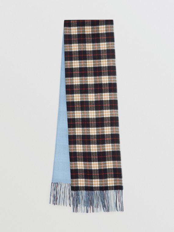 Colour Block Vintage Check Cashmere Scarf in Pale Air Force Blue