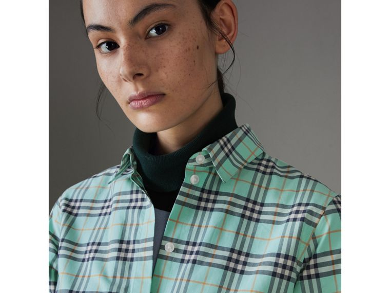 Check Cotton Shirt in Bright Aqua - Women | Burberry - cell image 1