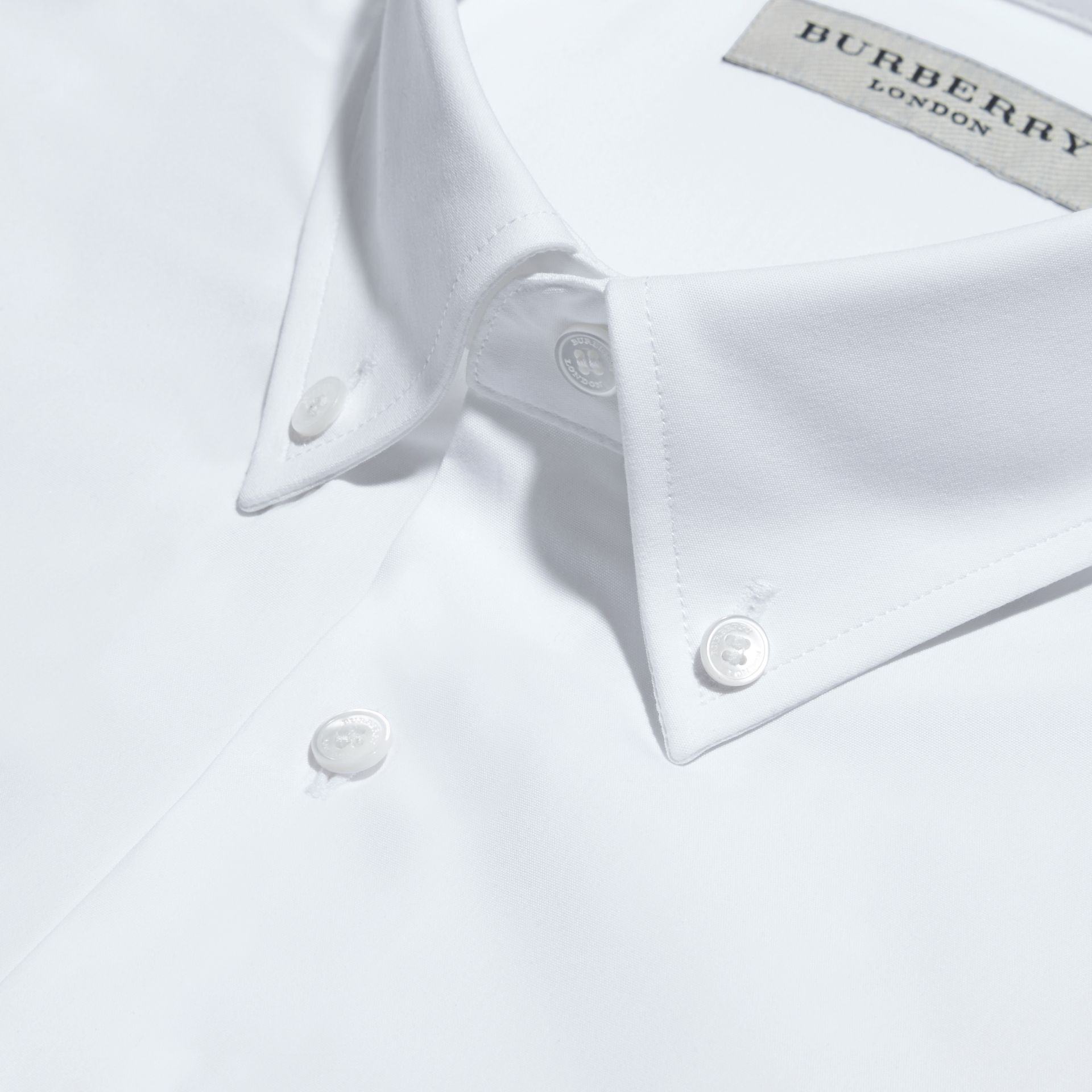 Modern Fit Button-down Collar Stretch Cotton Shirt in White - Men | Burberry - gallery image 2