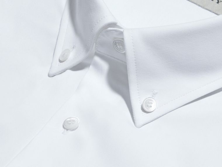 White Modern Fit Button-down Collar Stretch Cotton Shirt White - cell image 1
