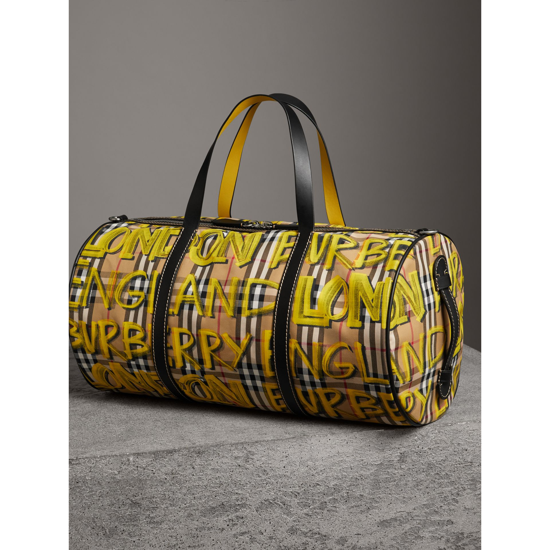 Medium Graffiti Print Vintage Check Barrel Bag in Bright Yellow/antique Yellow - Men | Burberry United States - gallery image 2