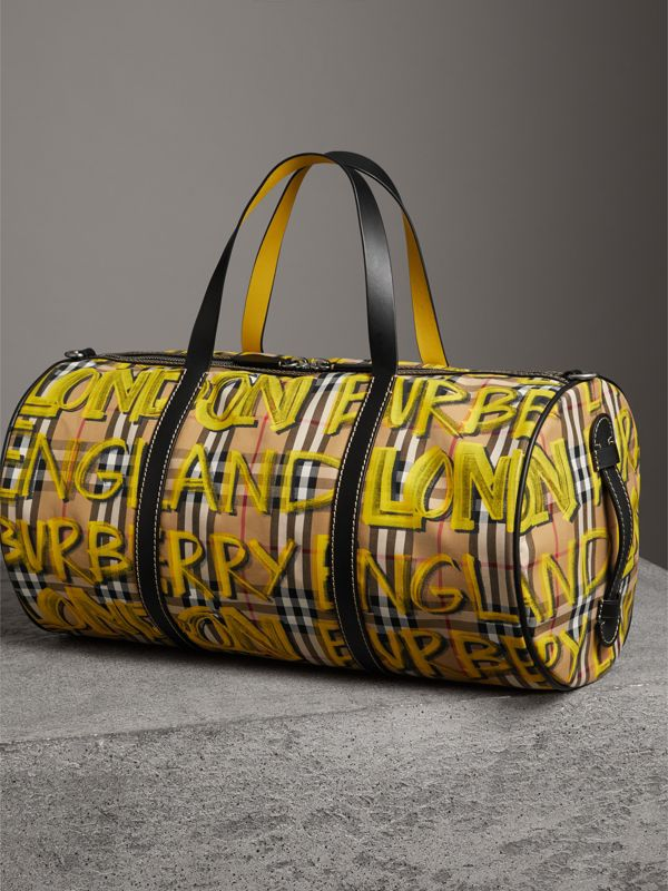 Medium Graffiti Print Vintage Check Barrel Bag in Bright Yellow/antique Yellow - Men | Burberry United States - cell image 2