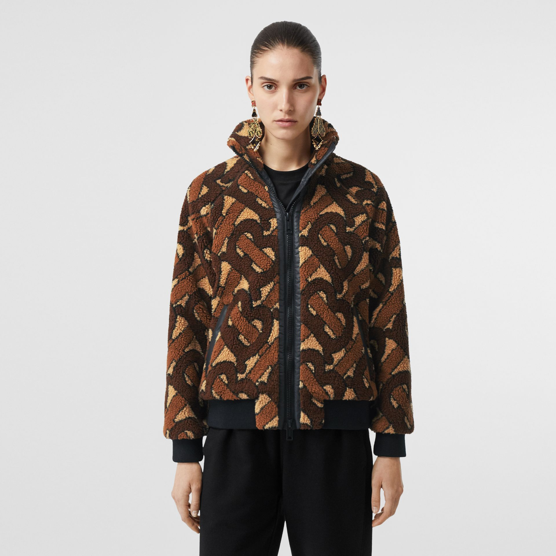 Monogram Fleece Jacquard Jacket in Bridle Brown - Women | Burberry United States - gallery image 5