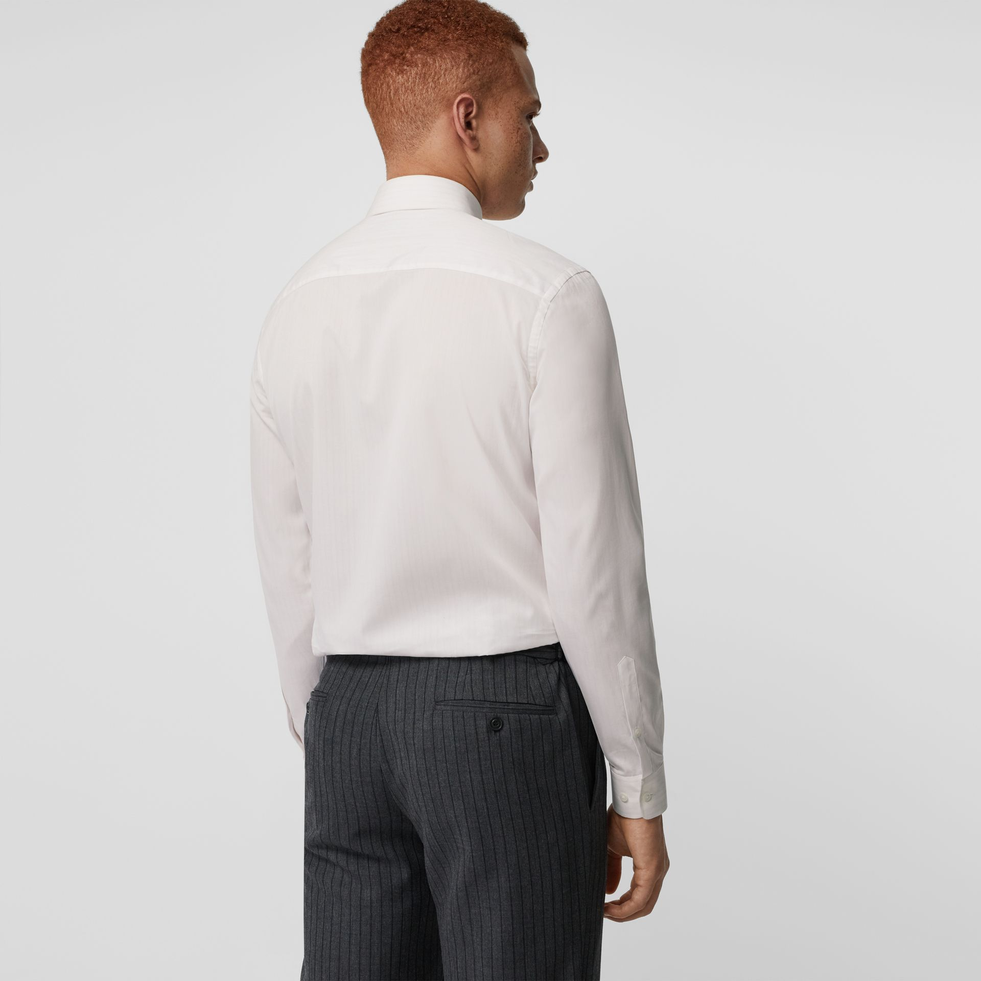 Slim Fit Striped Cotton Poplin Dress Shirt in City Pink - Men | Burberry Australia - gallery image 2