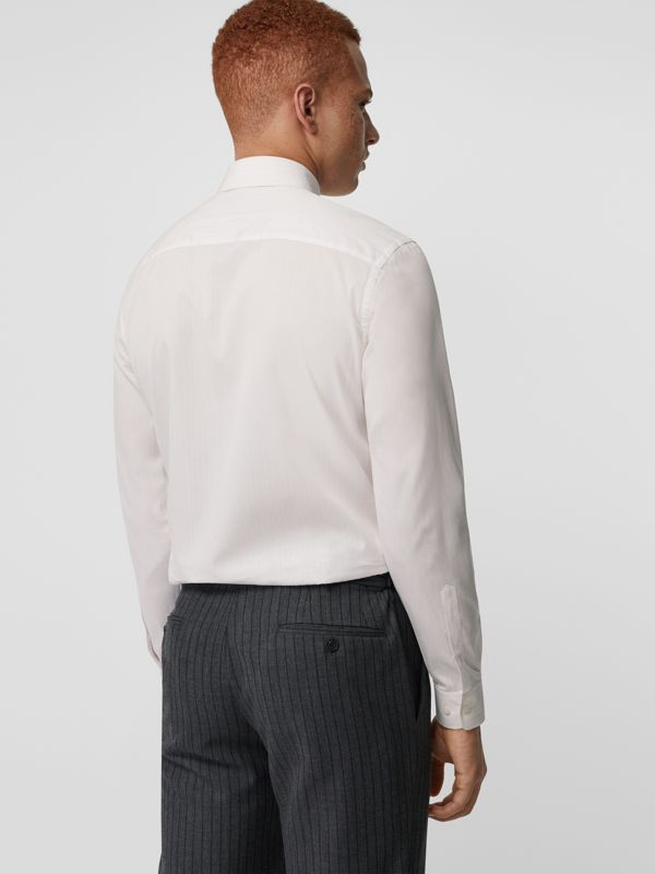 Slim Fit Striped Cotton Poplin Dress Shirt in City Pink - Men | Burberry - cell image 2