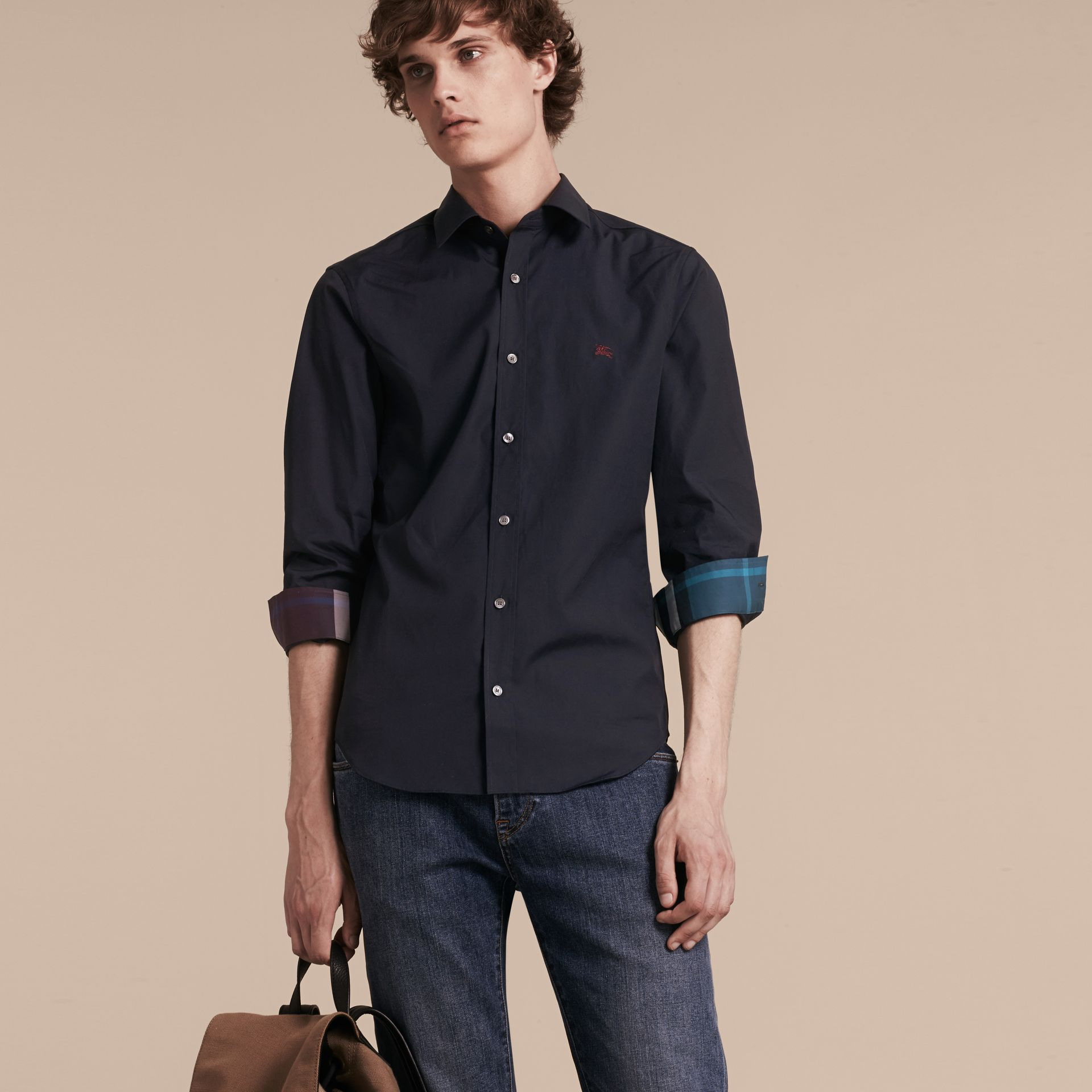 Navy Check Detail Stretch Cotton Shirt Navy - gallery image 6