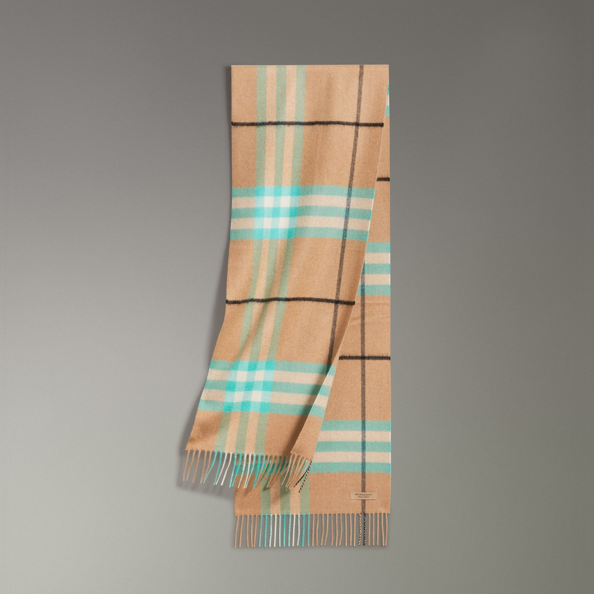 Check Cashmere Scarf in Bright Aqua | Burberry - gallery image 0