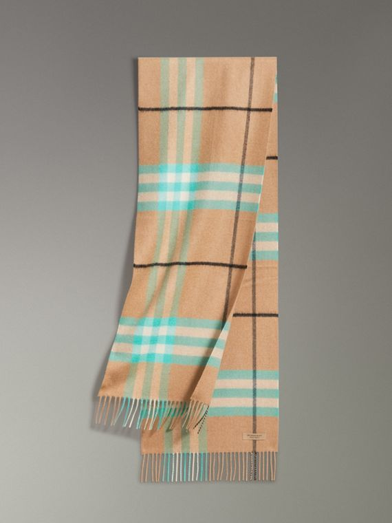 Check Cashmere Scarf in Bright Aqua