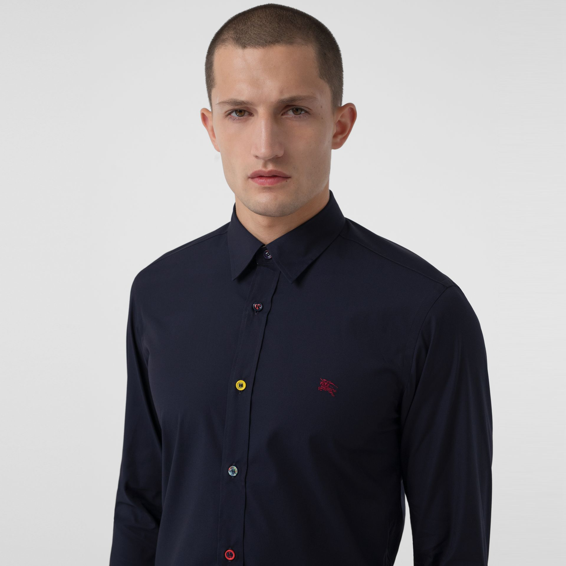 Contrast Button Stretch Cotton Shirt in Navy - Men | Burberry United States - gallery image 1