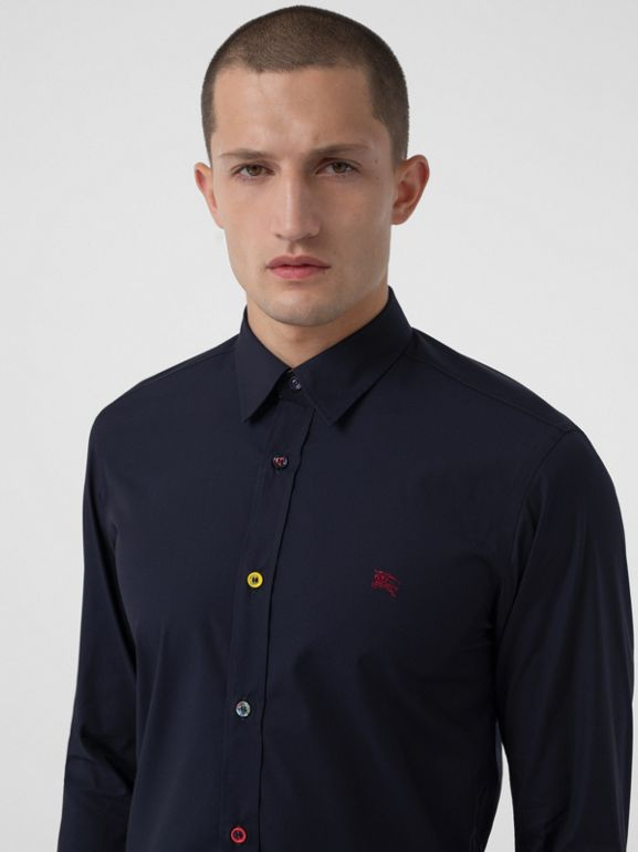 Contrast Button Stretch Cotton Shirt in Navy - Men | Burberry United Kingdom - cell image 1