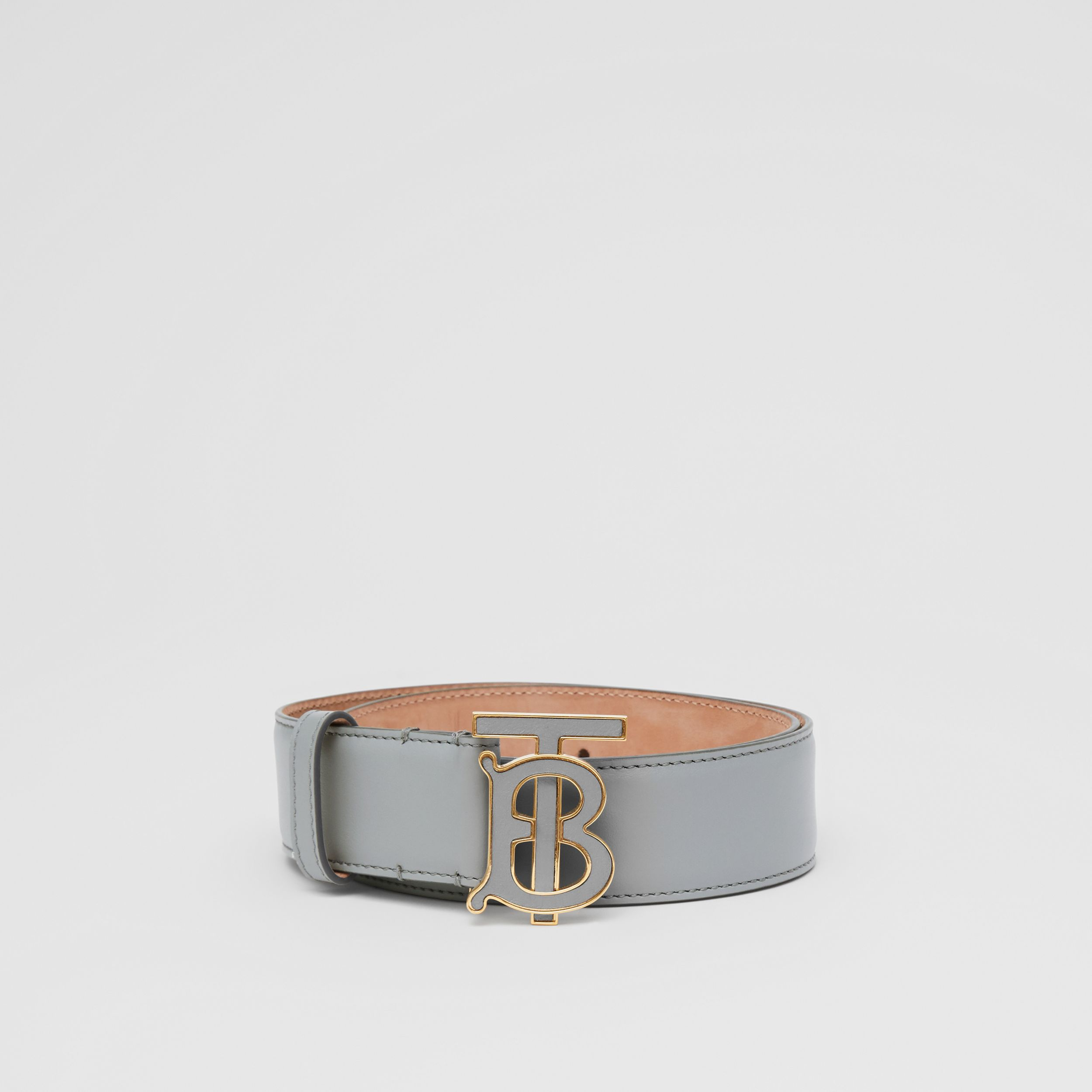 Monogram Motif Leather Belt in Cloud Grey | Burberry - 4