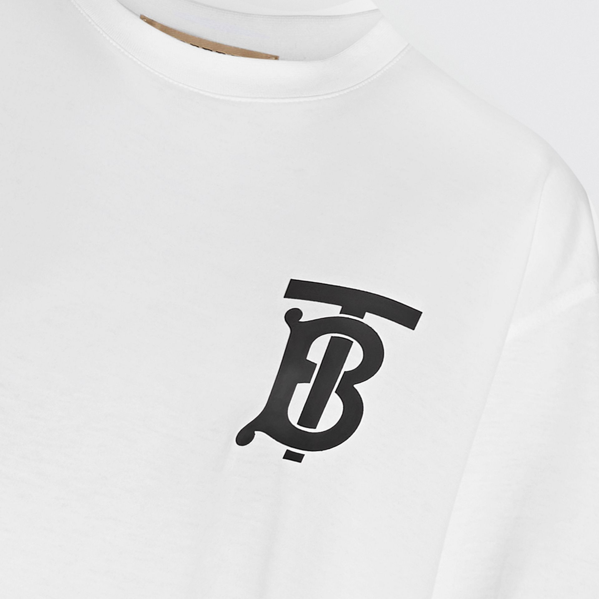 Monogram Motif Cotton Oversized T-shirt in White - Women | Burberry - gallery image 1