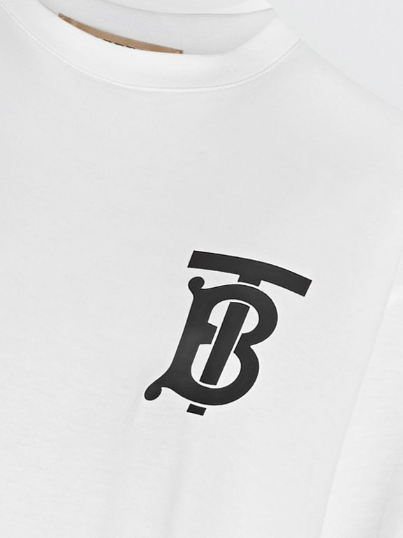 Monogram Motif Cotton Oversized T-shirt in White - Women | Burberry - cell image 1