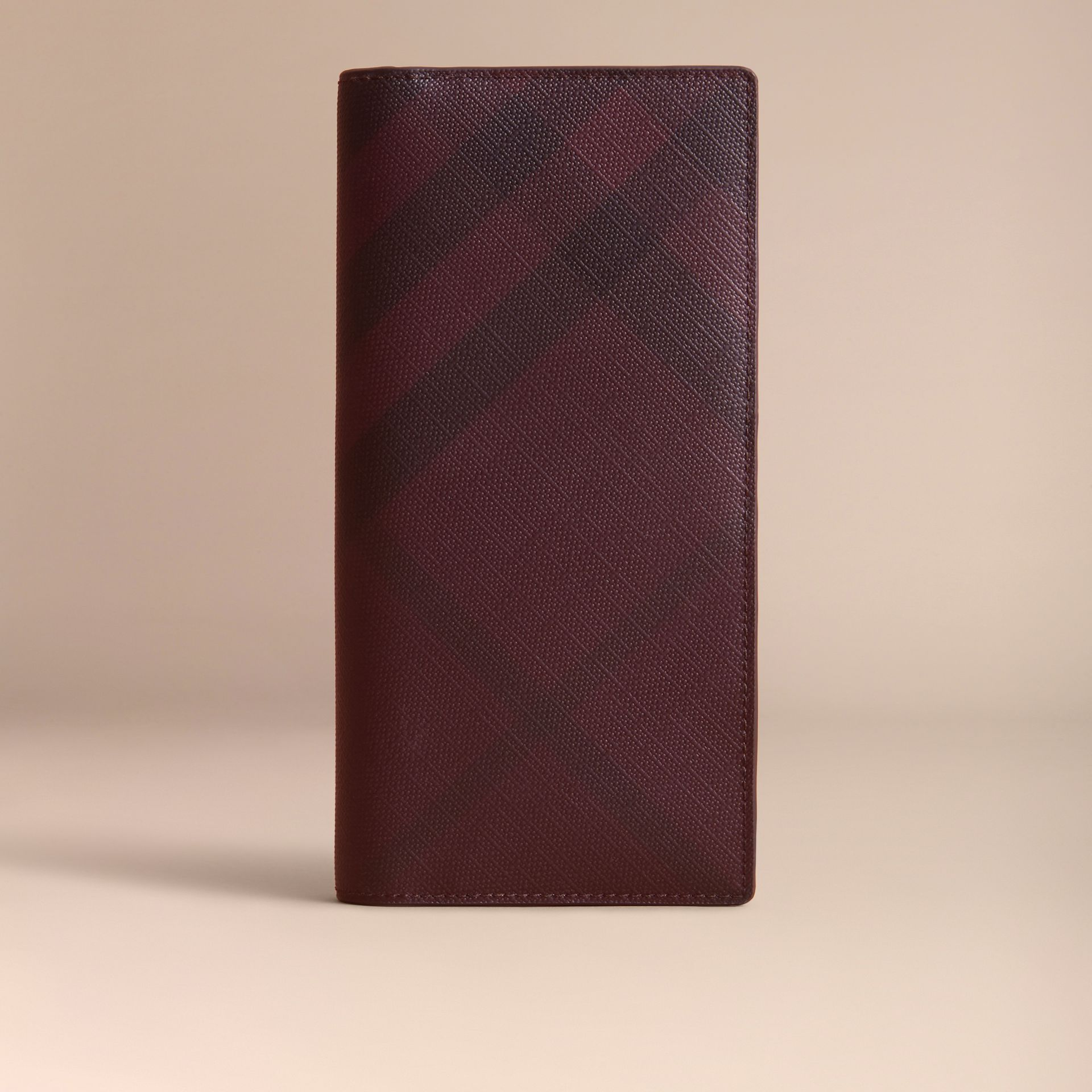 London Check and Leather Continental Wallet in Deep Claret - Men | Burberry Canada - gallery image 6