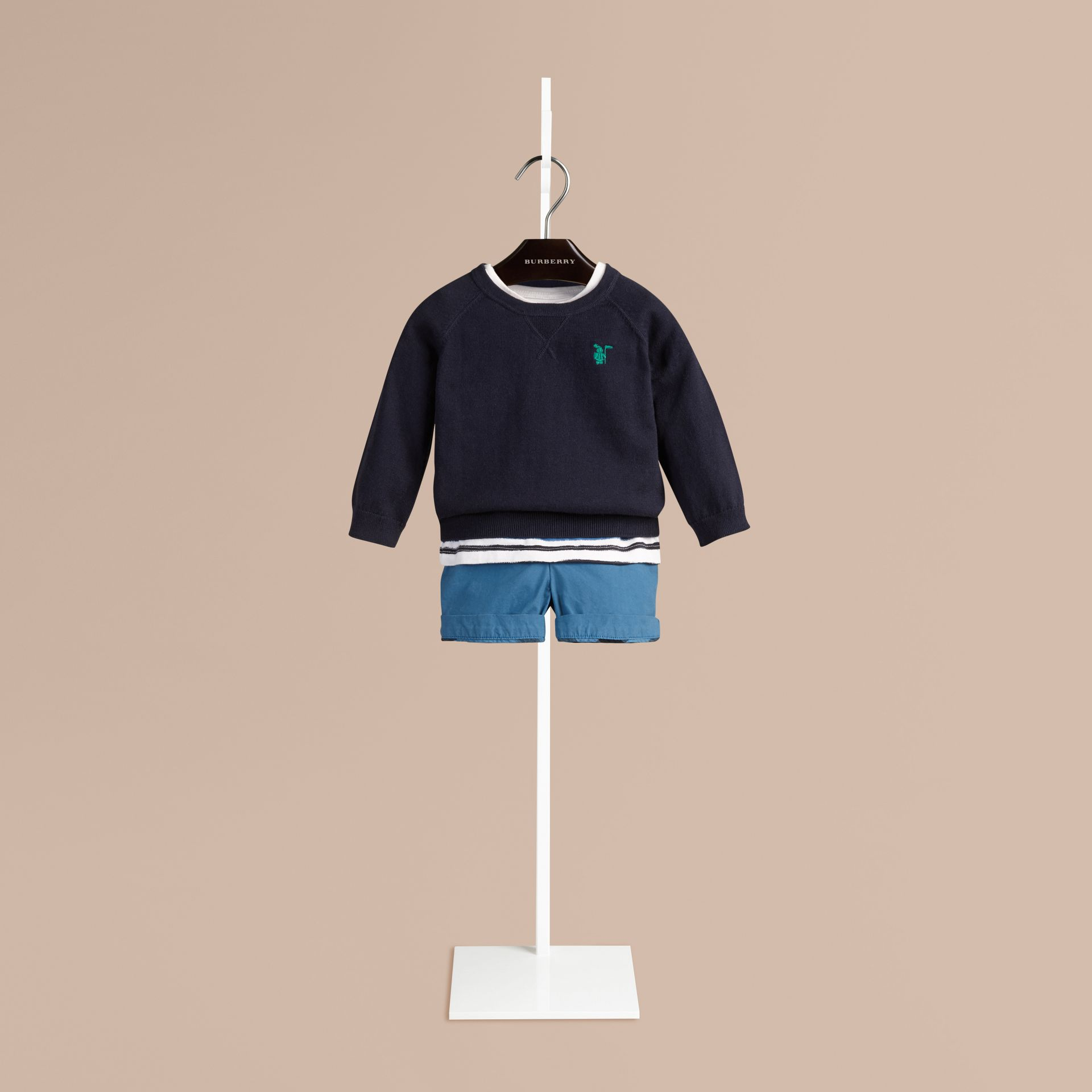 Navy Crew Neck Cotton Sweater - gallery image 1