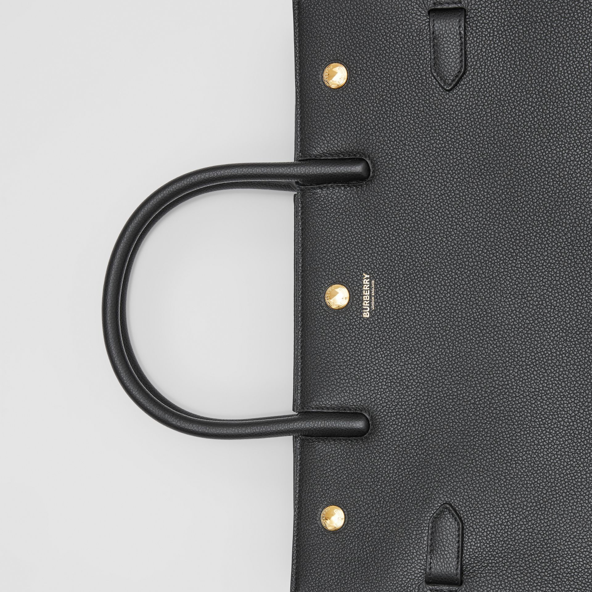 Medium Leather Two-handle Title Bag in Black - Women | Burberry - gallery image 1