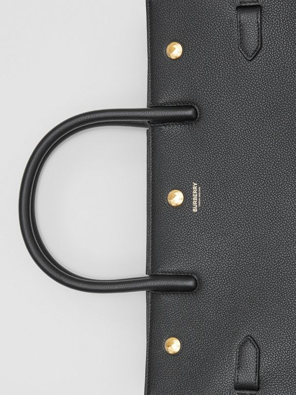 Medium Leather Two-handle Title Bag in Black - Women | Burberry - cell image 1