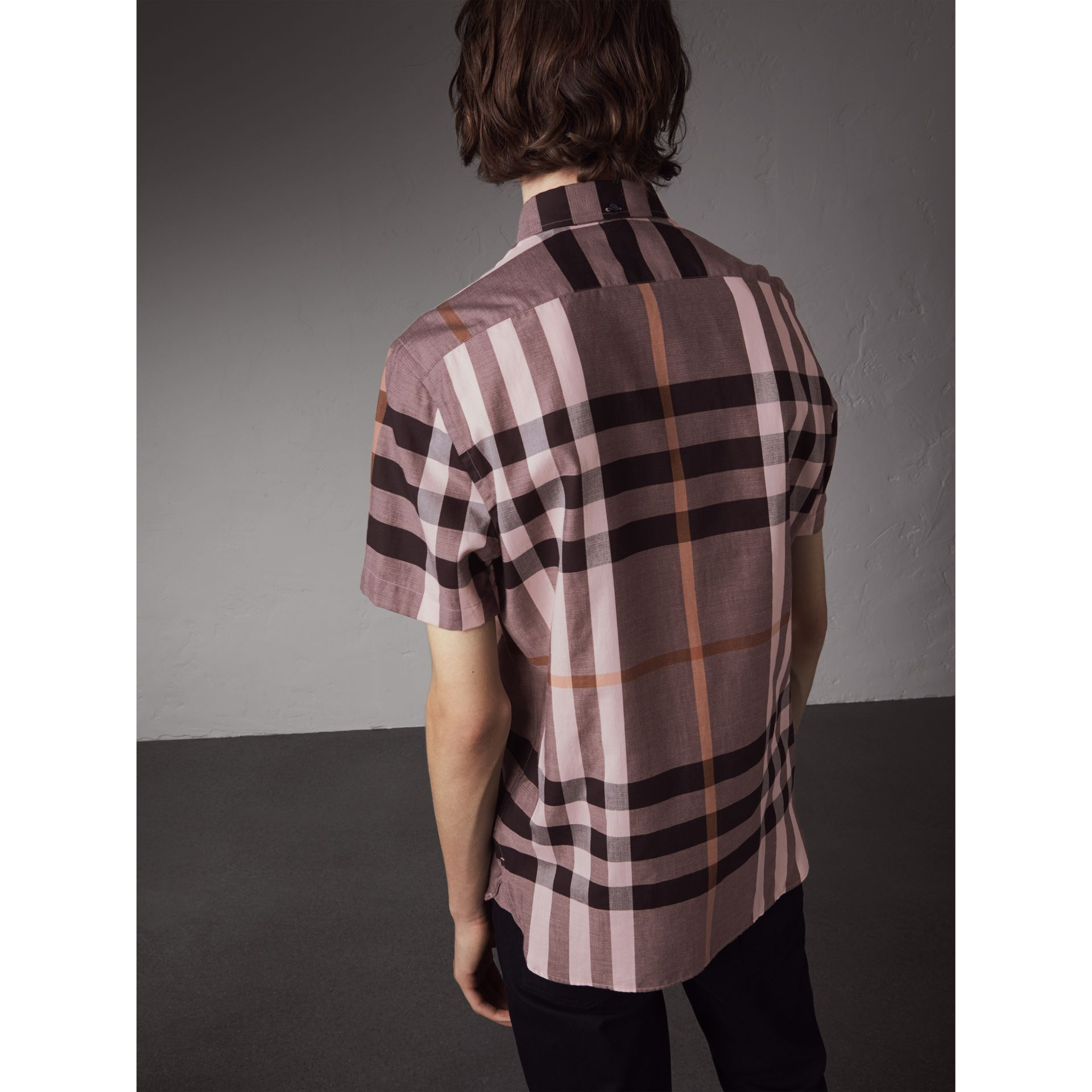 Button-down Collar Short-sleeve Check Cotton Shirt in Antique Rose - Men | Burberry - gallery image 3